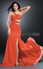 Red Sheath Sweep Train Chiffon One Shoulder Ball Dresses (NZJT06587)