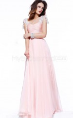 Chiffon A-line Square Sweep Train Blushing Pink Ball Dresses (NZJT06589)