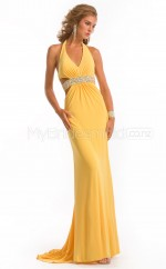 Yellow Sheath Halter Chiffon Long Ball Dresses (NZJT06593)