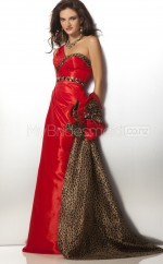 Red A-line Court Train Taffeta One Shoulder Ball Dresses (NZJT06595)