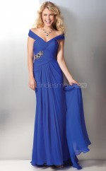 Chiffon Sheath Off The Shoulder Sweep Train Ocean Blue Ball Dresses (NZJT06597)