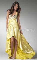 Yellow A-line Halter Charmeuse Long Ball Dresses (NZJT06604)
