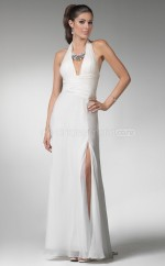 Chiffon Sheath V-neck Sweep Train White Ball Dresses (NZJT06606)