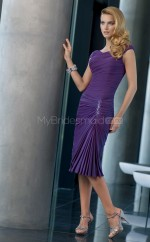 Chiffon Sheath V-neck Knee-length Regency Ball Dresses (NZJT06609)