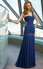 Royal Blue A-line Floor-length Chiffon One Shoulder Ball Dresses (NZJT06616)