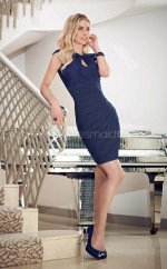 Dark Navy Sheath Jewel Chiffon Short Ball Dresses (NZJT06630)