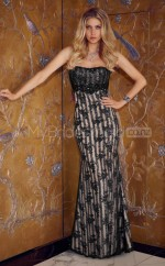 Lace Mermaid Strapless Floor-length Black Ball Dresses (NZJT06635)