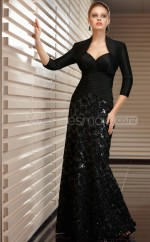Taffeta A-line Square Sweep Train Black Ball Dresses (NZJT06652)