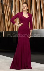 Burgundy Mermaid Sweetheart Chiffon Long Ball Dresses (NZJT06654)