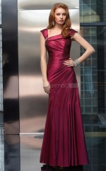 Burgundy A-line Straps Taffeta Long Ball Dresses (NZJT06658)