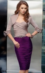 Sheath Strapless Satin Chiffon Short Ball Dresses (NZJT06661)