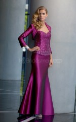 Stretch Satin Mermaid Sweetheart Floor-length Grape Ball Dresses (NZJT06666)