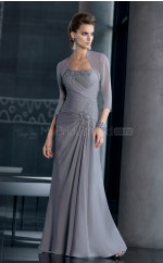 Silver A-line Floor-length Chiffon One Shoulder Ball Dresses (NZJT06669)