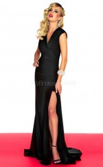 Satin Chiffon Mermaid V-neck Court Train Black Ball Dresses (NZJT06675)