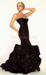 Taffeta Mermaid Sweetheart Court Train Black Ball Dresses (NZJT06678)