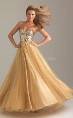 Sequined A-line Sweetheart Floor-length Gold Ball Dresses (NZJT06685)