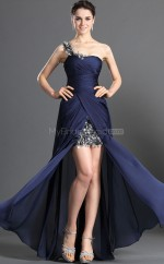 Dark Navy A-line Sweep Train Sequined One Shoulder Ball Dresses (NZJT06688)