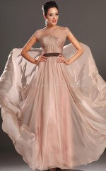 Champagne A-line Jewel Chiffon Long Ball Dresses (NZJT06689)