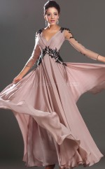 Lace A-line V-neck Floor-length Nude Pink Ball Dresses (NZJT06693)