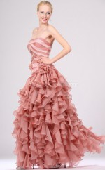 A-line Strapless Chiffon Long Ball Dresses (NZJT06697)
