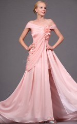Satin Chiffon A-line Off The Shoulder Sweep Train Pearl Pink Ball Dresses (NZJT06702)