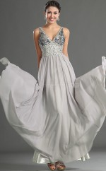 Silver A-line V-neck Chiffon Long Ball Dresses (NZJT06707)