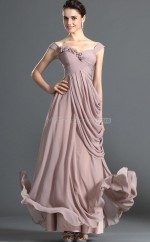 Chiffon A-line Off The Shoulder Floor-length Nude Pink Ball Dresses (NZJT06711)