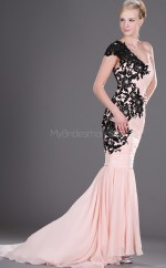 Blushing Pink Mermaid Court Train Chiffon One Shoulder Ball Dresses (NZJT06712)