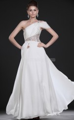 Ivory A-line Sweep Train Chiffon One Shoulder Ball Dresses (NZJT06713)