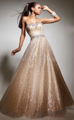 Champagne A-line Sweetheart Sequined Long Ball Dresses (NZJT06725)