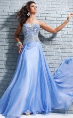 Silk Like Chiffon A-line Sweetheart Court Train Ocean Blue Ball Dresses (NZJT06729)