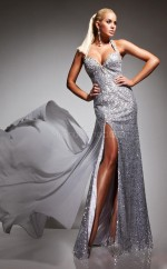 Silver Mermaid Halter Sequined Long Ball Dresses (NZJT06733)