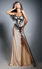 Champagne Mermaid Sweetheart Stretch Satin Long Ball Dresses (NZJT06737)