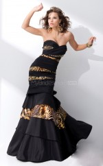 Taffeta Mermaid Sweetheart Sweep Train Black Ball Dresses (NZJT06740)