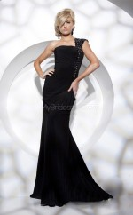Black Mermaid Sweep Train Chiffon One Shoulder Ball Dresses (NZJT06741)