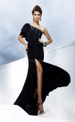 Black Mermaid Sweep Train Chiffon One Shoulder Ball Dresses (NZJT06744)