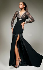 Chiffon Mermaid V-neck Sweep Train Black Ball Dresses (NZJT06748)