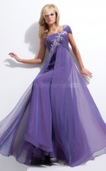 Silk Like Chiffon A-line One Shoulder Court Train Regency Ball Dresses (NZJT06751)