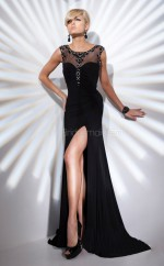 Chiffon Mermaid Jewel Sweep Train Black Ball Dresses (NZJT06752)