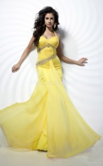 Daffodil Mermaid Halter Chiffon Long Ball Dresses (NZJT06753)