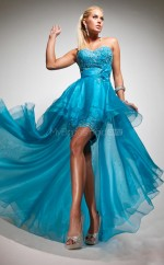 Organza A-line Sweetheart Asymmetrical Ocean Blue Ball Dresses (NZJT06757)