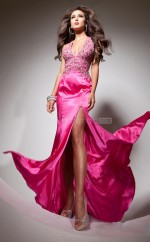 Champagne Mermaid Halter Stretch Satin Long Ball Dresses (NZJT06760)