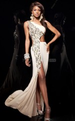 Champagne Mermaid Sweep Train Chiffon One Shoulder Ball Dresses (NZJT06765)