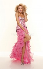Watermelon Organza Mermaid Sweetheart Asymmetrical School Ball Gowns(NZJT06775)