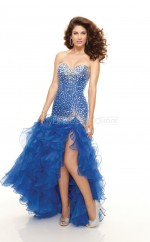 Organza Mermaid Sweetheart Asymmetrical Royal Blue Ball Dresses (NZJT06779)