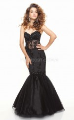 Satin Mermaid Sweetheart Sweep Train Black Ball Dresses (NZJT06781)