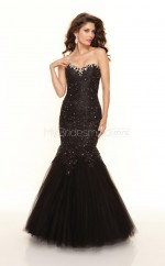 Tulle Mermaid Sweetheart Sweep Train Black Ball Dresses (NZJT06783)