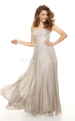 Silver A-line Sweetheart Silk Like Chiffon Long Ball Dresses (NZJT06790)