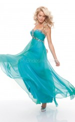 Silk Like Chiffon A-line Sweetheart Sweep Train Turquoise Ball Dresses (NZJT06792)