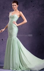 Chiffon Mermaid One Shoulder Sweep Train Lime Green Ball Dresses (NZJT06797)